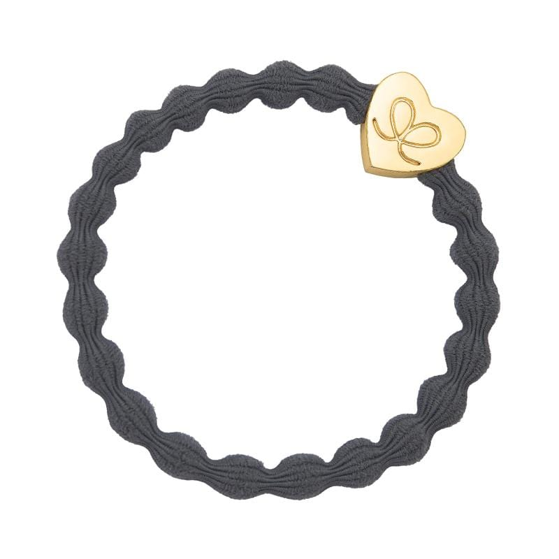 by Eloise LONDON Hair Band Grey with Gold Heart Hairband with Charm
