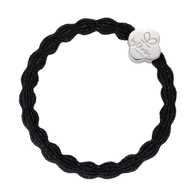by Eloise LONDON Hair Band Metallic Black with Silver Quatrefoil Hairband with Charm