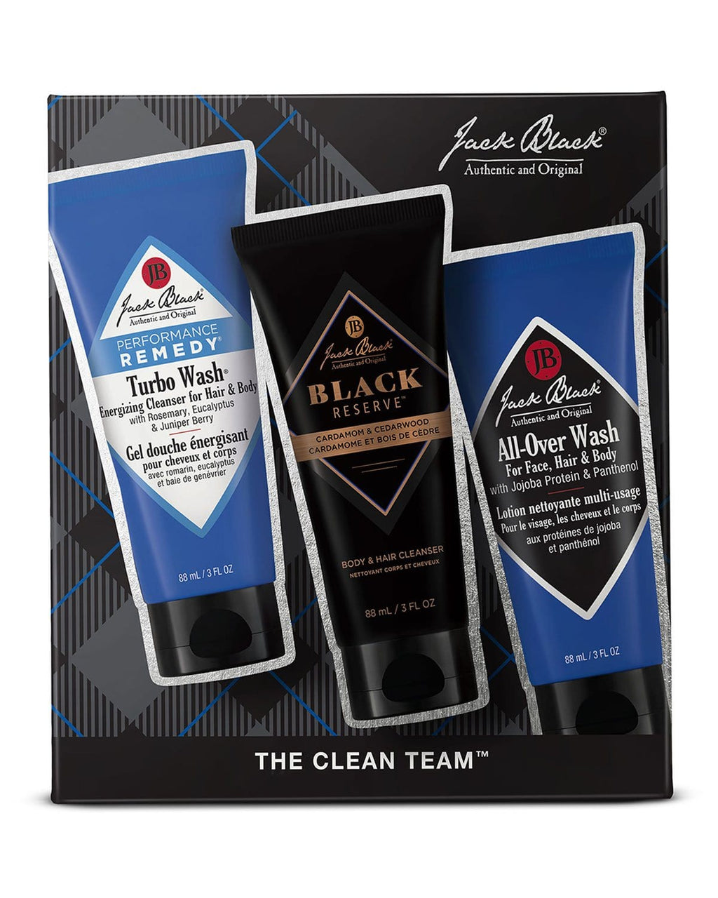 Jack Black Skincare Set The Clean Team™ with Turbo Wash®, All-Over Wash & Black Reserve™ Cleanser
