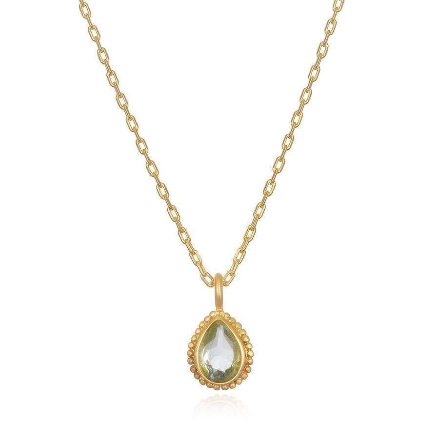Satya Jewelry Necklace Aquamarine Gemstone Gold Necklace