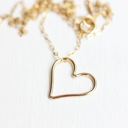 Diament Jewelry Necklace Gold Filled Heart Necklace