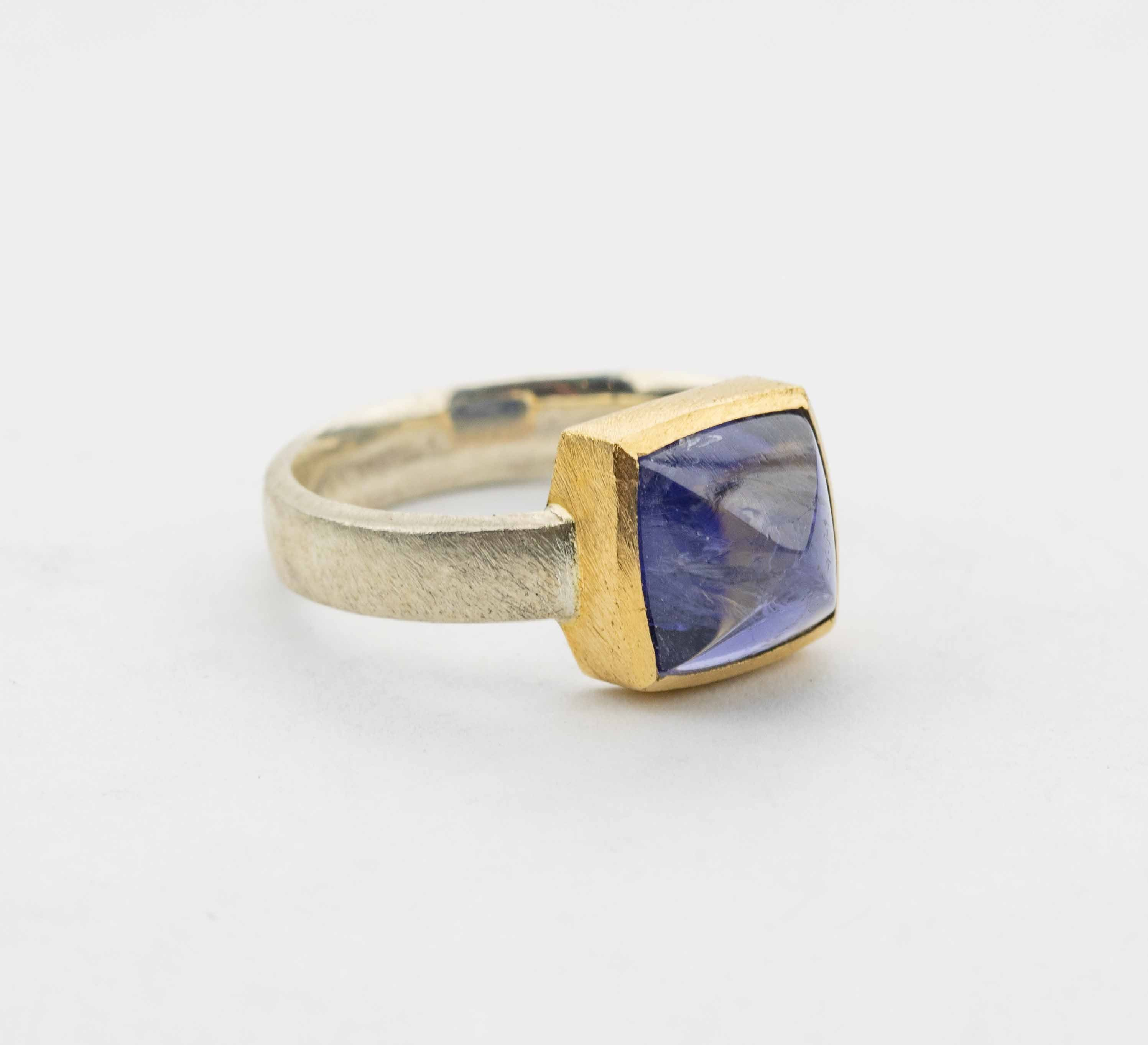 Ring Iolith, Silber & Gold