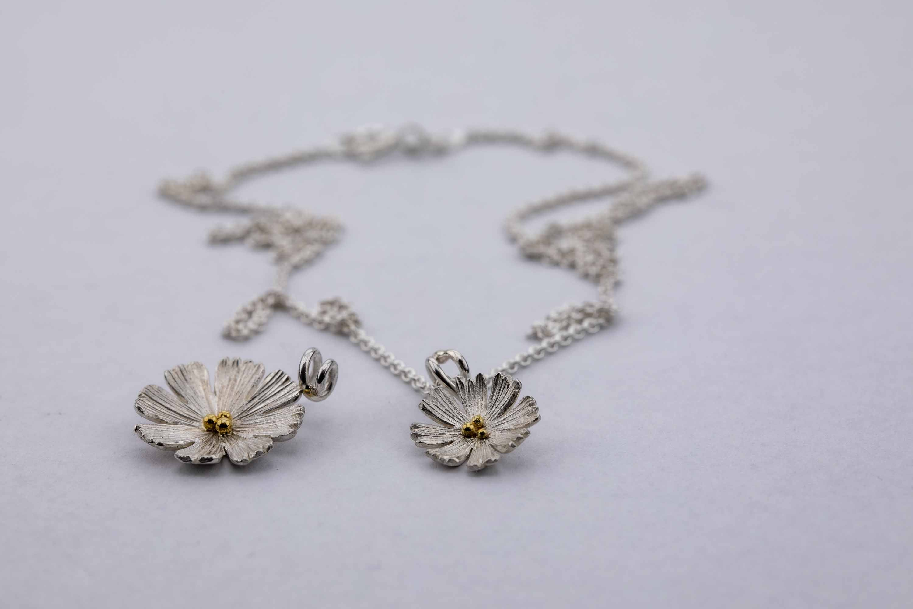 Collier Blüte, Silber & Gold