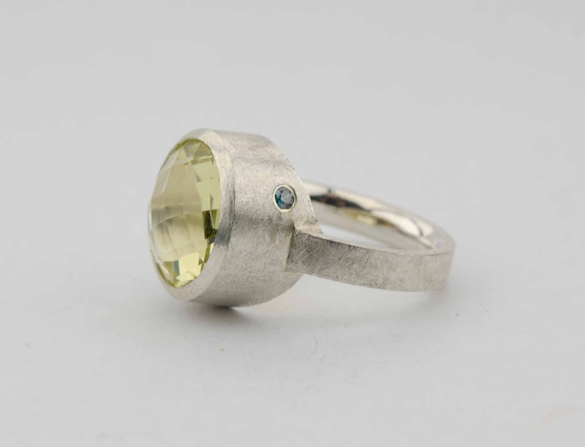 Ring Lemon-Quarz, Brillant & Silber