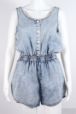 Sleeveless Denim Short Jumpsuit