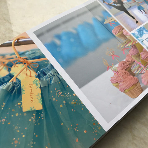 An open Luminta Photobook with photos of cupcakes and a gift