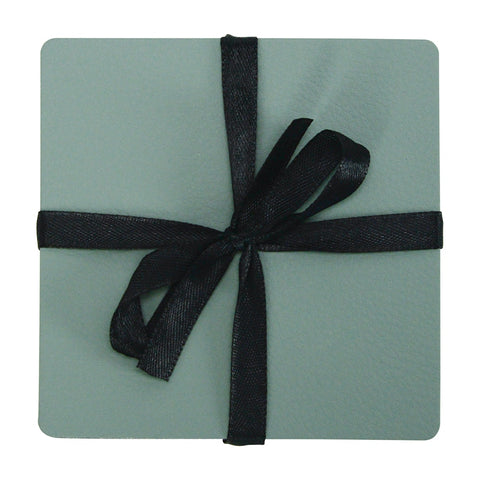 Coaster Set - Recycled Leather - Sage