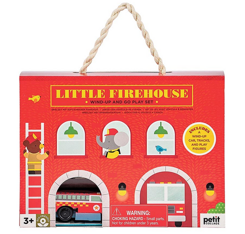 Petit Collage Firehouse Wind Up & Go Play Set
