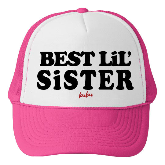 Bubu - Best Lil Sister White / Hot Pink Trucker Hat