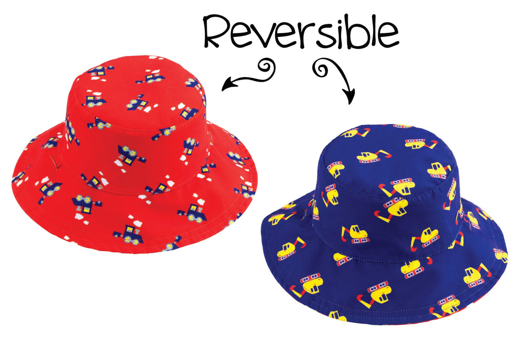 FlapJackKids - Reversible Babies' Sun Hat - Digger / Train