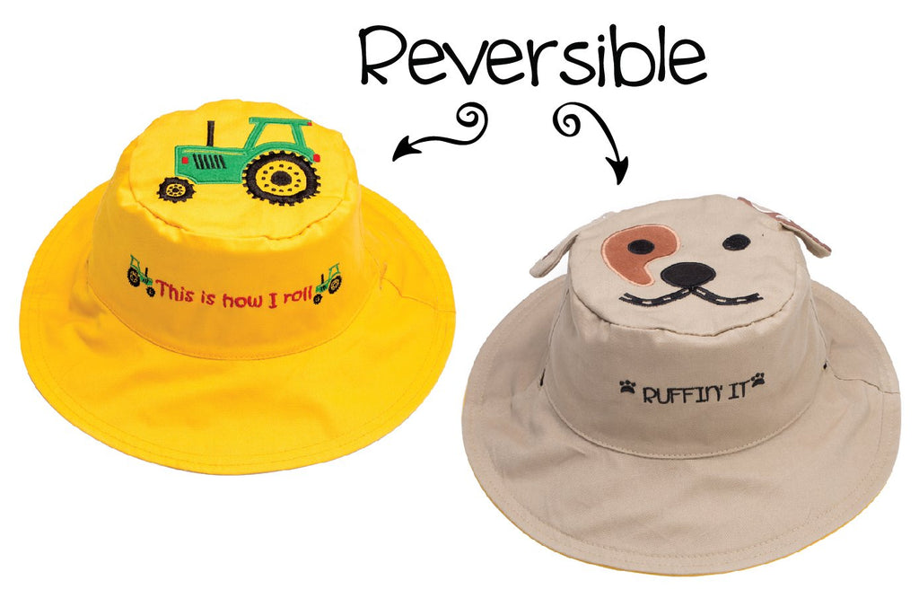 FlapJackKids - Reversible Kids' Sun Hat - Tractor / Dog