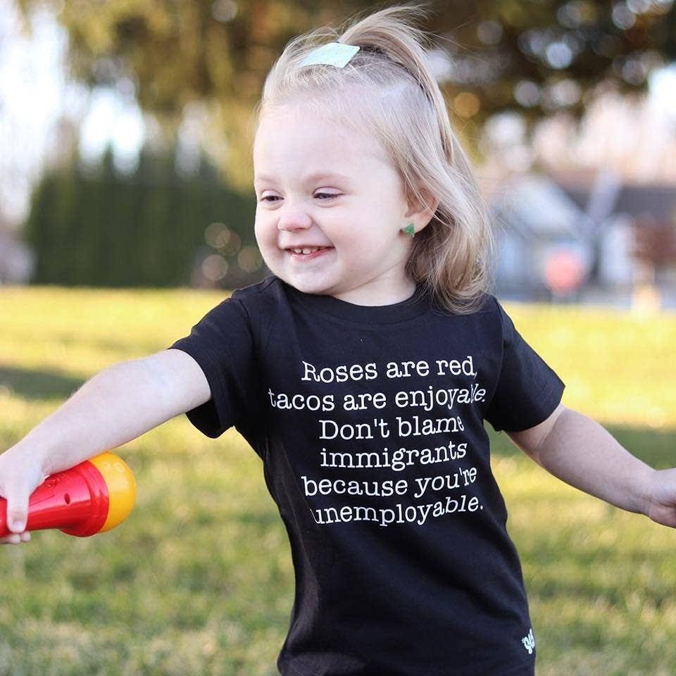 spillthebeansetc - Roses Are Red Don't Blame Immigrants Toddler and Baby Tee
