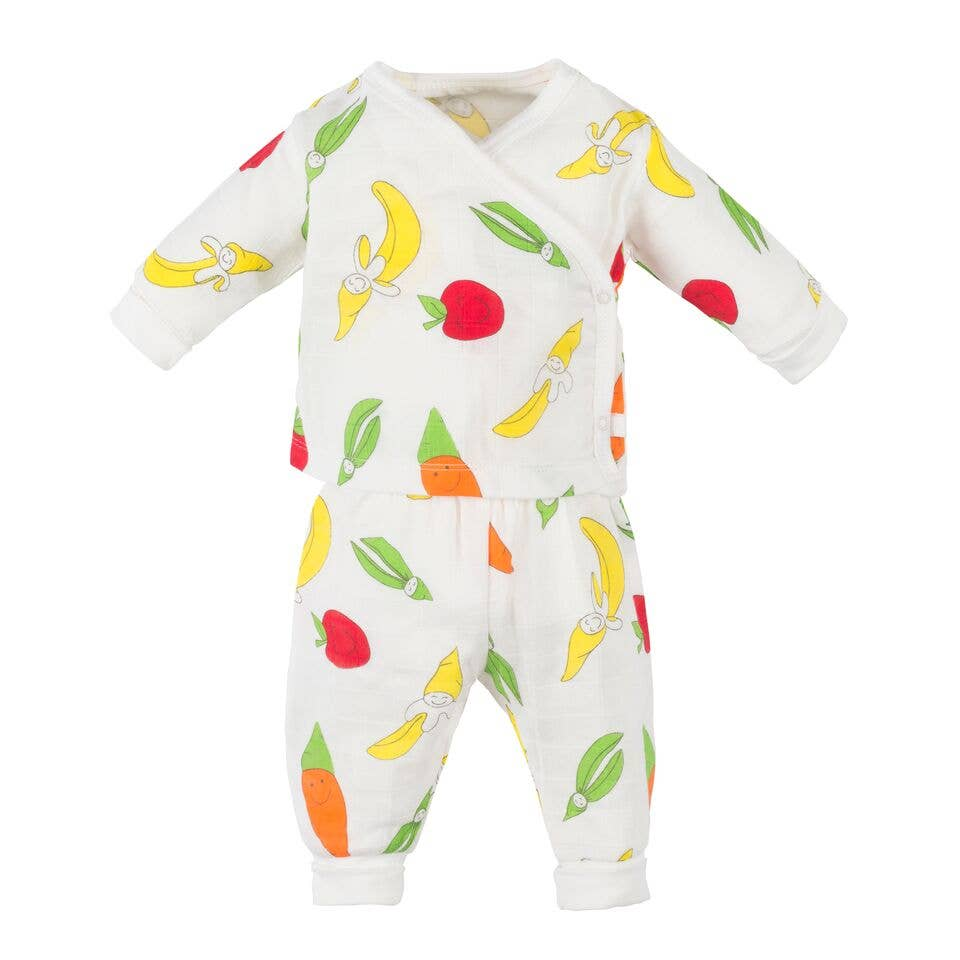 Under the Nile - Muslin Top and Rolled Waist Pant Set - Fruit and Veggie Prin
