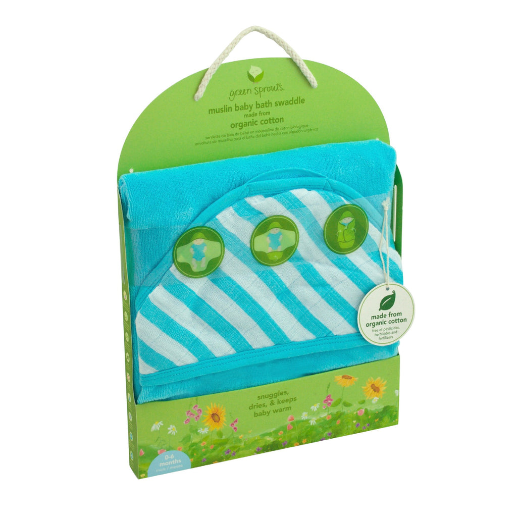 Green Sprouts - Muslin Baby Bath Swaddle made from Organic Cotton