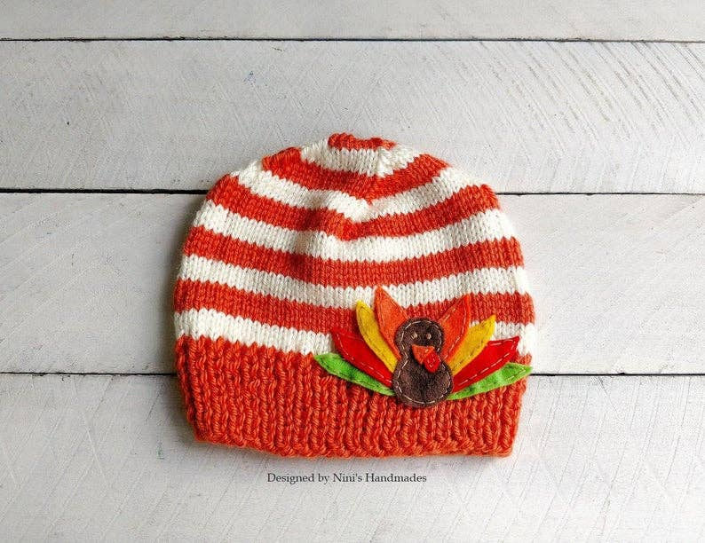 Nini's Handmades - Chunky Knit Kids and Family Knit Thanksgiving Turkey Hat