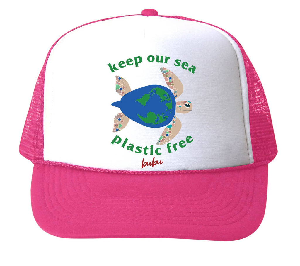 Bubu - Keep Our Sea, Plastic Free - Hot Pink Trucker Hat