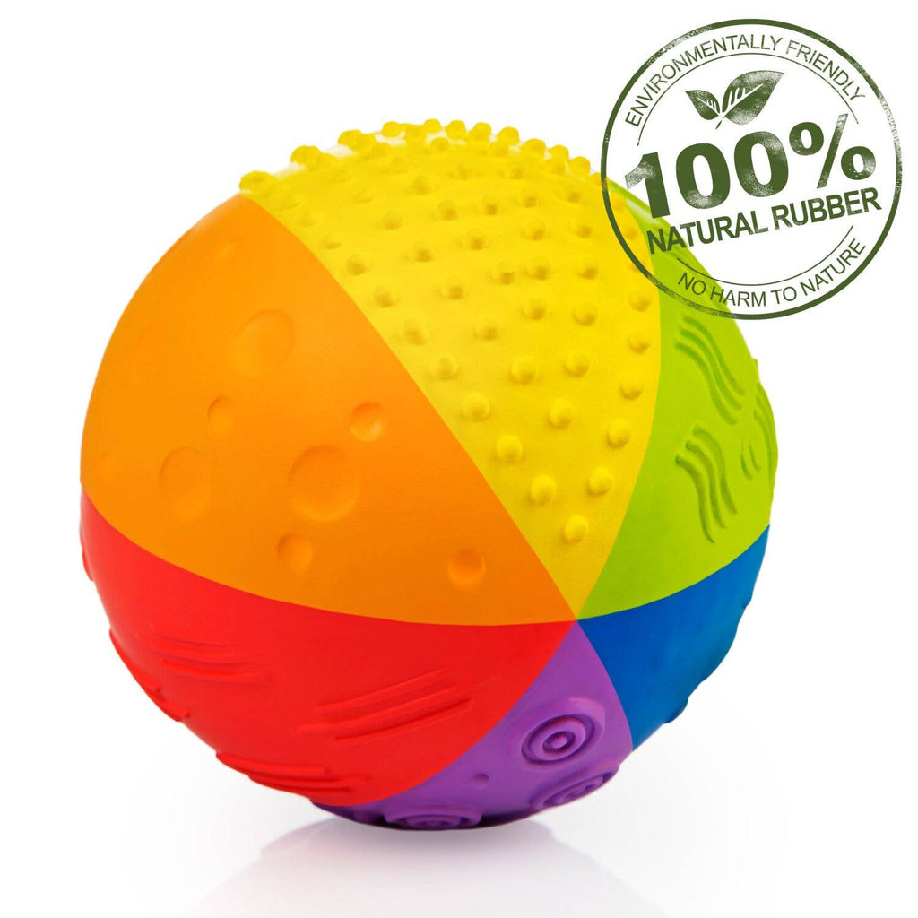 "CaaOcho - Sensory Ball Rainbow 4"" - 100% Pure Natural Rubber"
