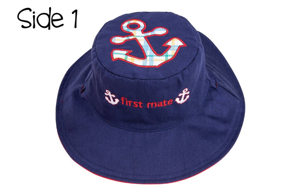 FlapJackKids - Reversible Kids' Sun Hat - Anchor / Sailboat