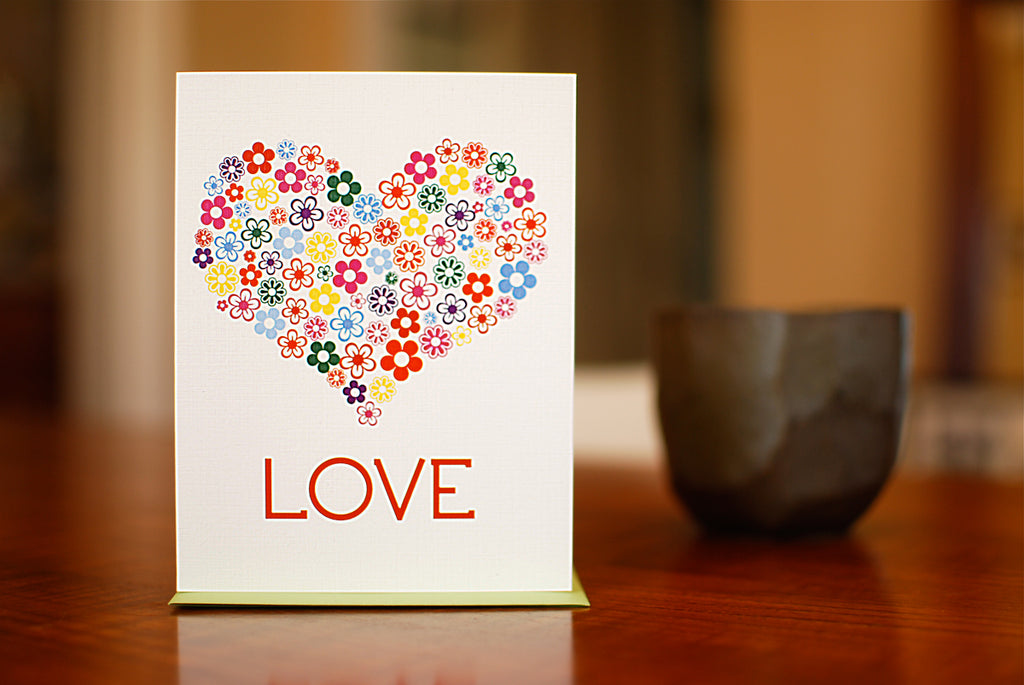 MAN vs. GEORGE DESIGN - Floral Heart Love, Valentine, or Wedding Card