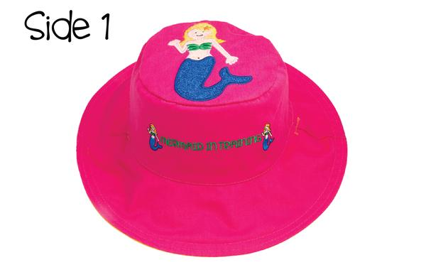 FlapJackKids - Reversible Kids' Sun Hat - Mermaid / Sandcastle