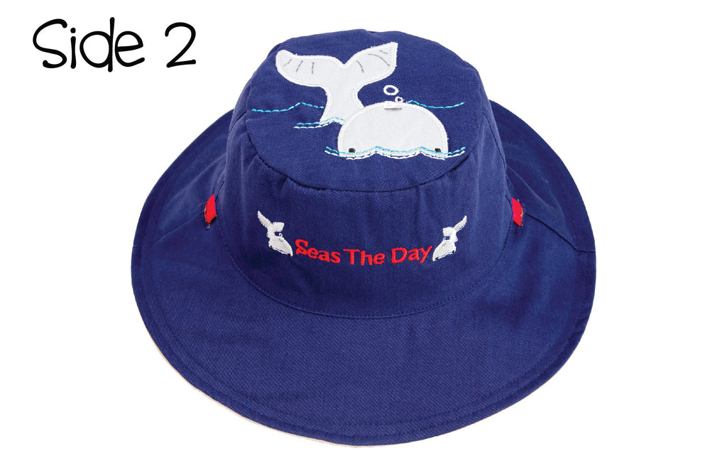 FlapJackKids - Reversible Kids' Sun Hat - Lobster / Whale