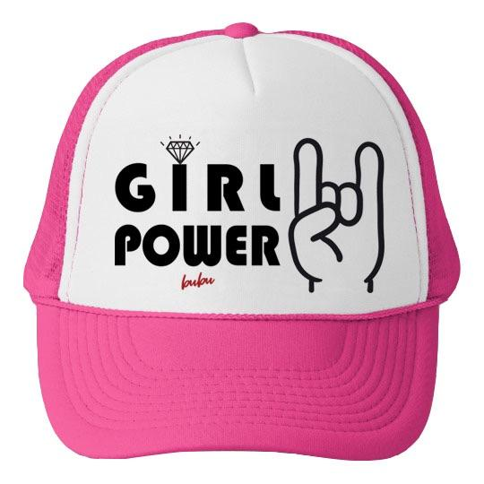 Bubu - Girl Power White/Hot Pink Trucker Hat
