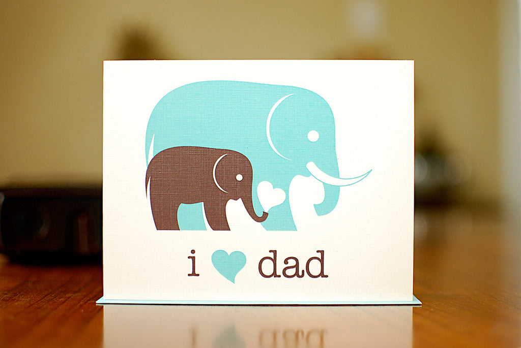 MAN vs. GEORGE DESIGN - I Heart Dad New Baby Card With Elephants