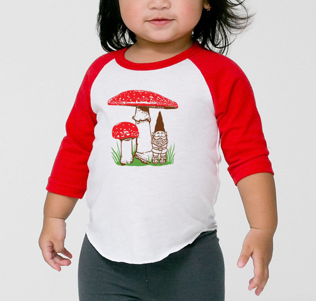 Little Lark - Kids Mushroom Gnome Shirt, 3/4 Sleeve Raglan