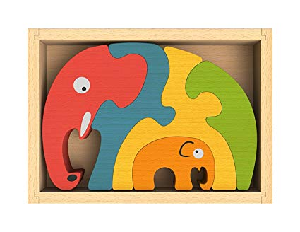 BeginAgain Rubberwood Elephant Family Puzzle