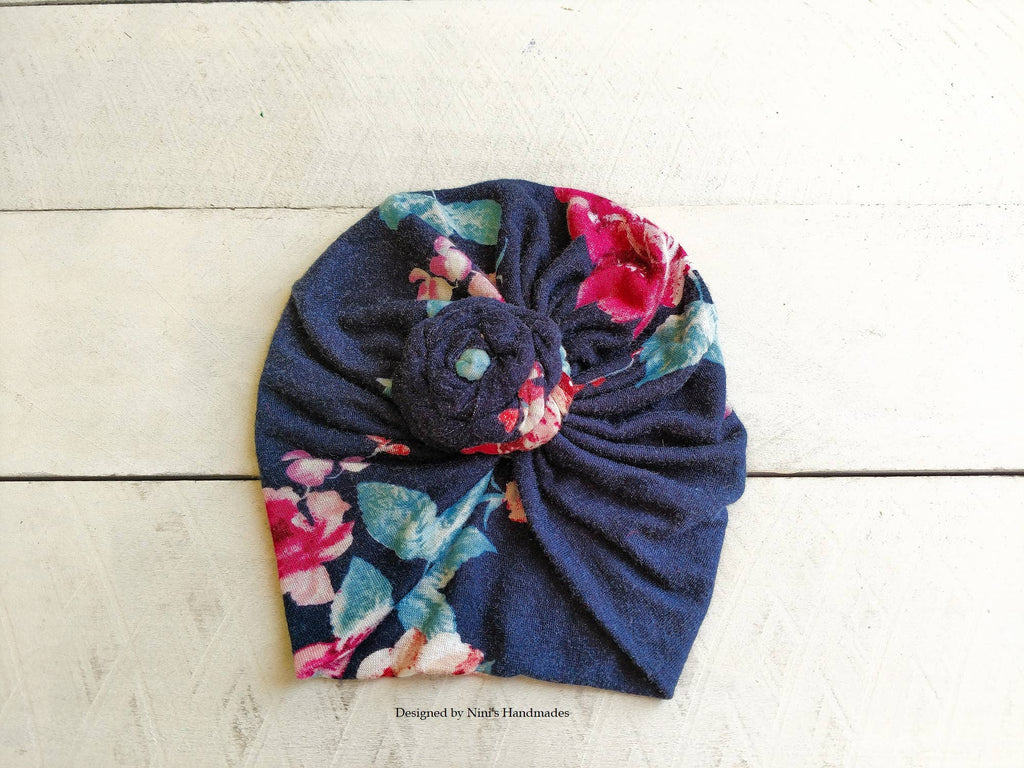 Nini's Handmades - Girls Distressed Antique Navy Flower Knit Jersey Turban Hat