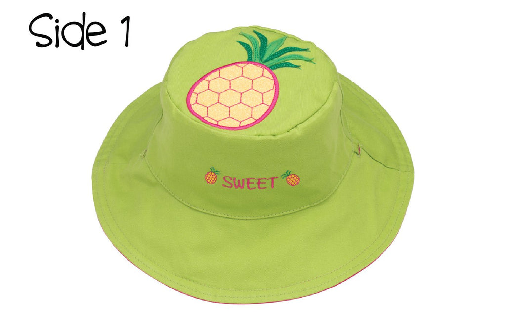 FlapJackKids - Reversible Kids' Sun Hat - Pineapple / Watermelon