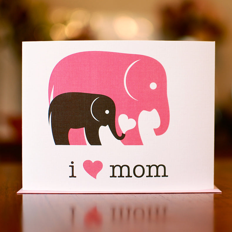 MAN vs. GEORGE DESIGN - I Heart Mom New Baby Card With Elephants