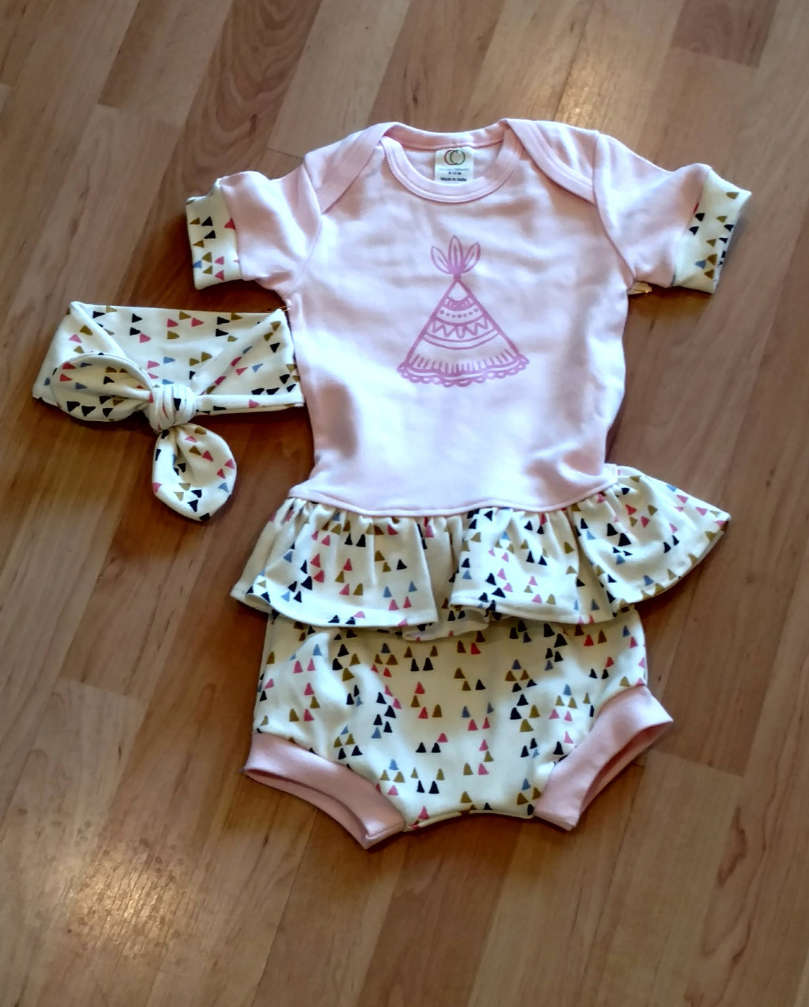 Pickled Pear Tree Ruffle Tee with Shorts and Headband Set