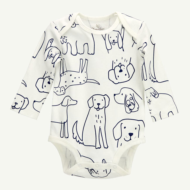 Oliver & Rain Organic Dog Print Long Sleeve Body Suit