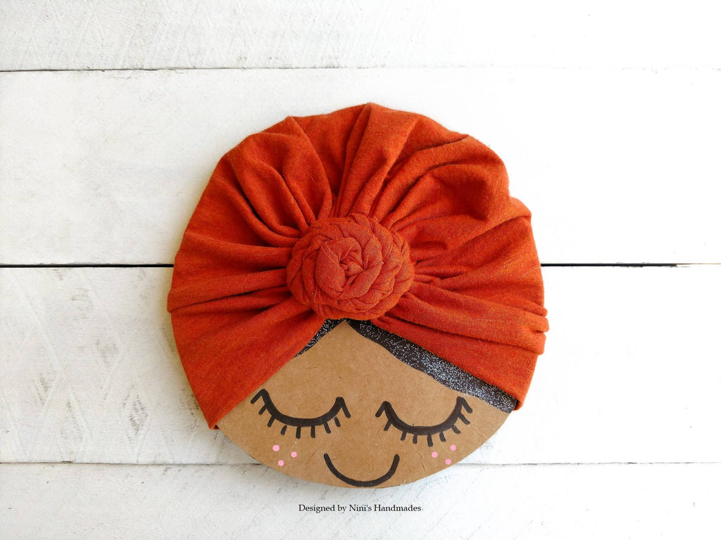 Nini's Handmades - Girls Burnt Orange Fabric Knit Jersey Turban Hat