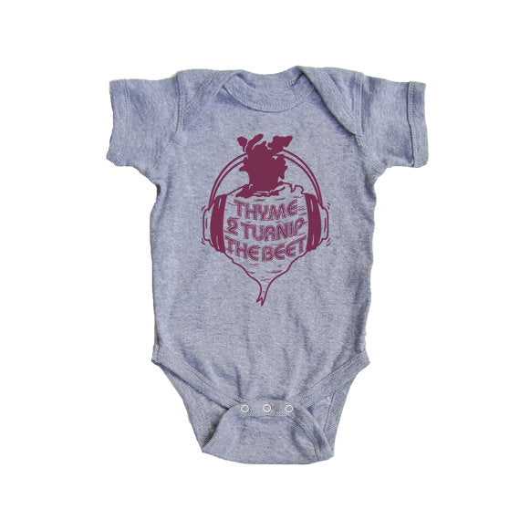 Bad Pickle Tees - Thyme To Turnip The Beet Onesie | Gray