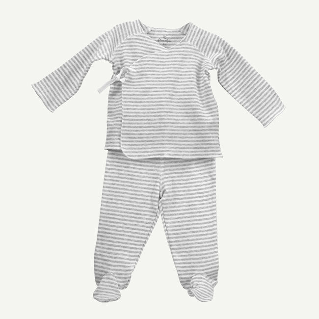 Oliver & Rain Heather Grey Stripe 2 piece footed set