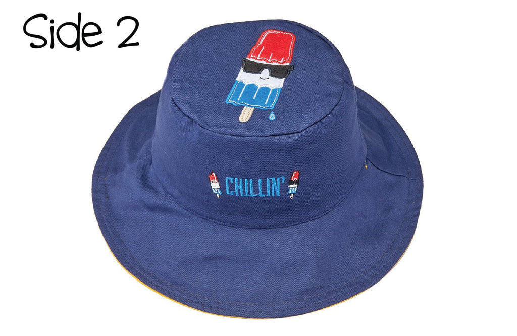 FlapJackKids - Reversible Kids' Sun Hat - Surfer / Cool Popsicle