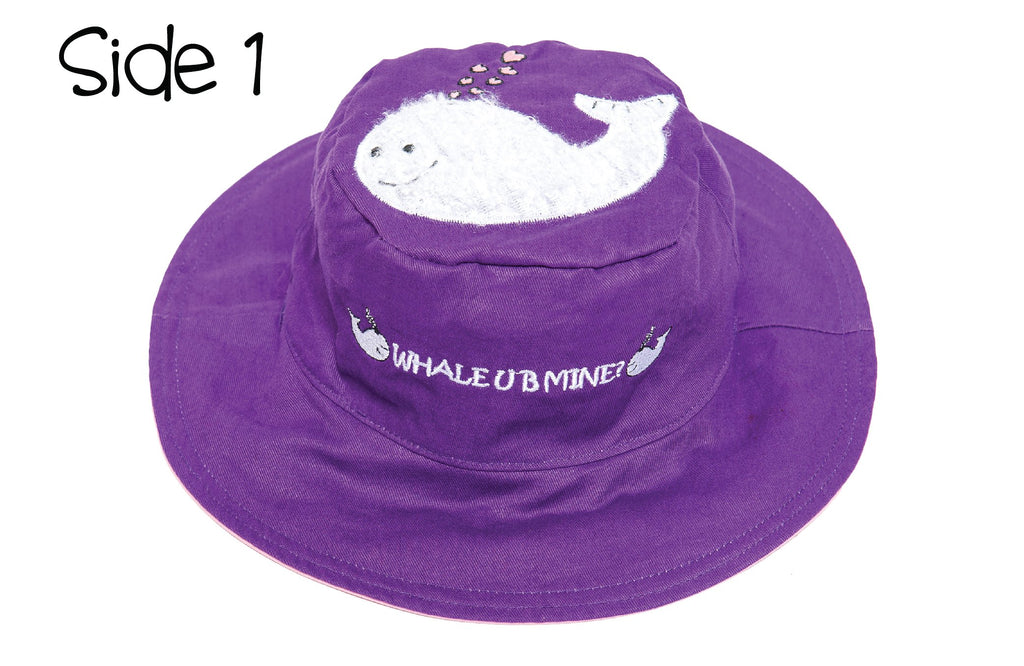 FlapJackKids - Reversible Kids' Sun Hat - Whale / Seahorse