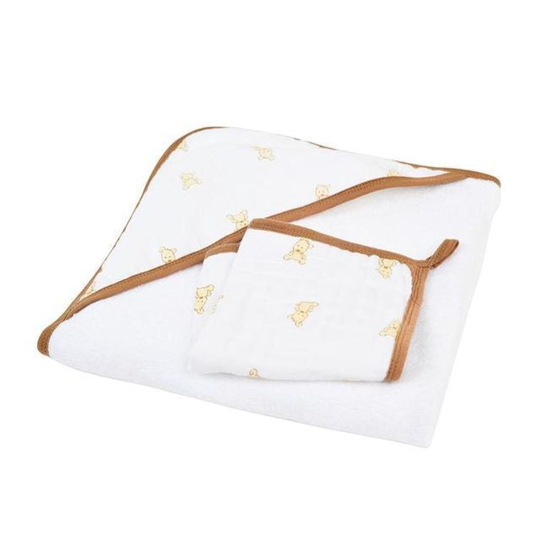Teddy Bear Hooded Towel and Washcloth Set