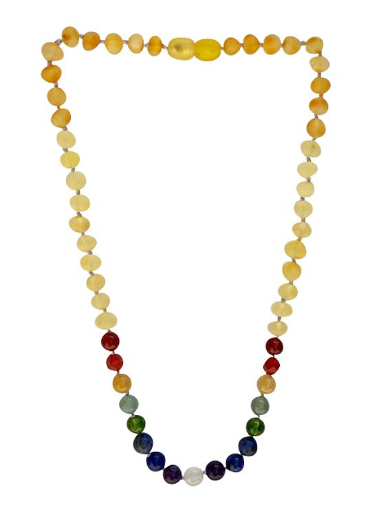 Amber + Gemstone Rainbow Big Kid Necklace