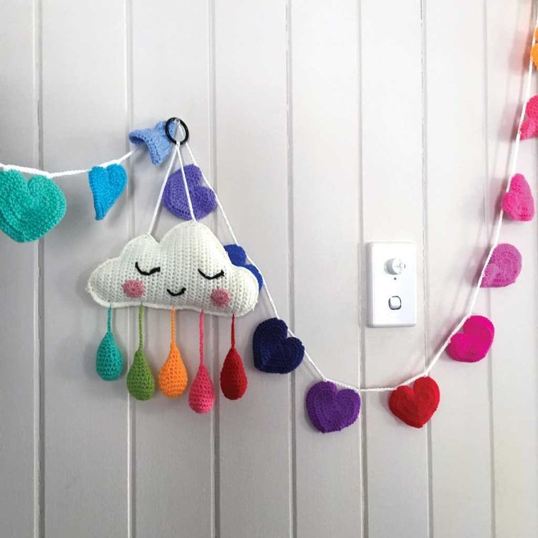 Handmade | Artisan Crocheted | Cloud Wall Hanging | Mobile | Rainbow