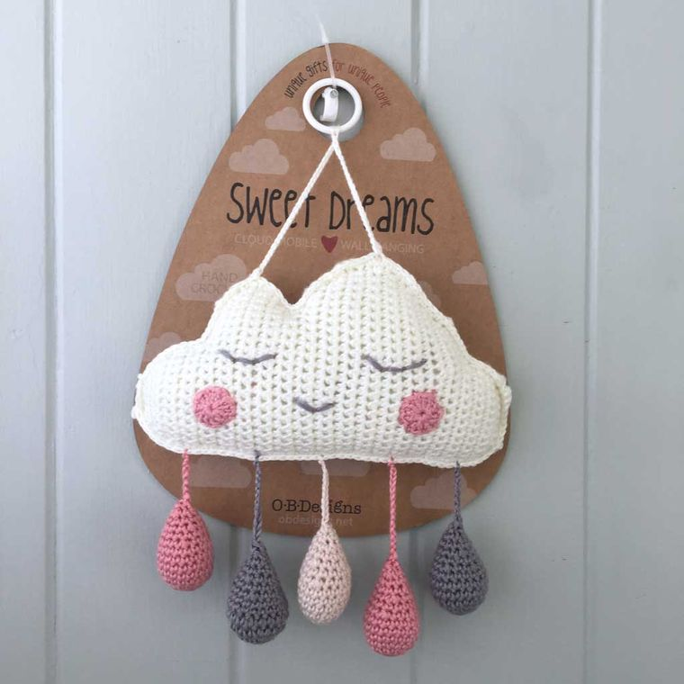 Handmade | Artisan Crocheted | Cloud Wall Hanging | Mobile | Pink