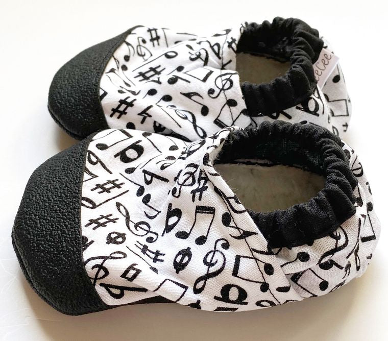 Music note soft baby shoes 6-12m