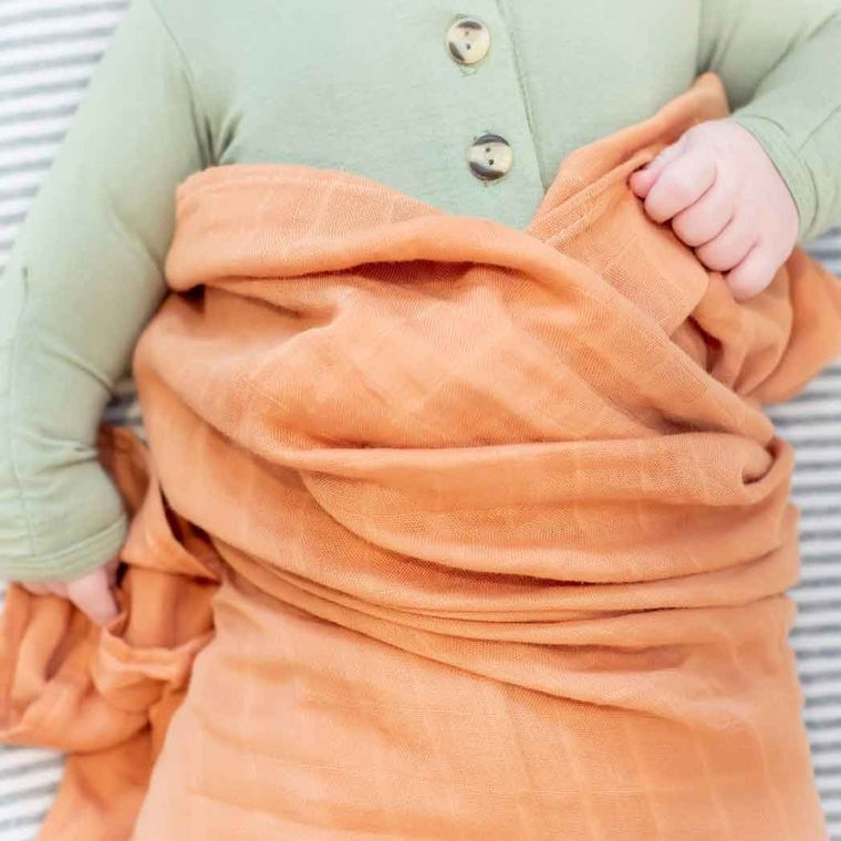 Bamboo Muslin Swaddle Blanket - Burnt Orange