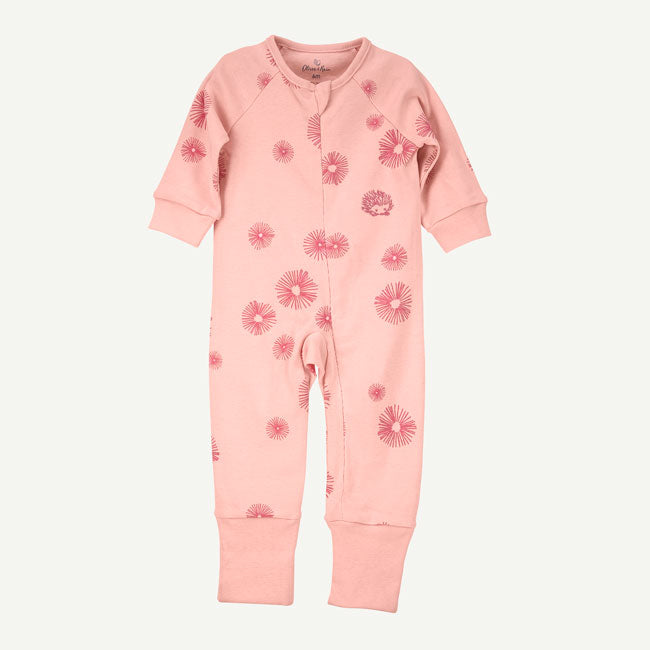 Oliver & Rain Pink Floral Burst Print Unionsuit with Convertible Cuffs