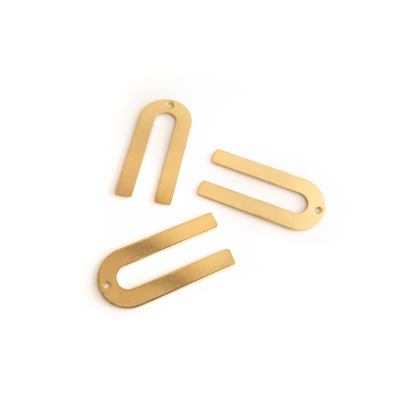 U Shape 10-Piece Raw Brass Charm (1 Hole)