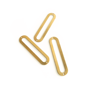 Long Hollow Capsule 10-Piece Raw Brass Charm