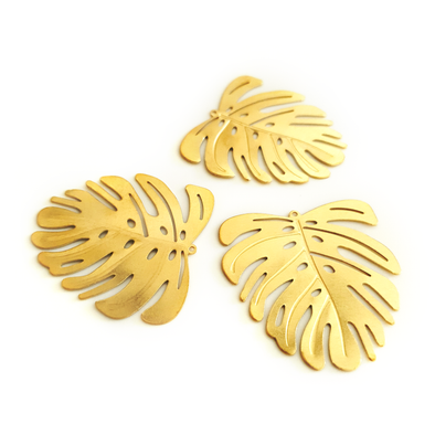 Large Monstera 4-Piece Raw Brass Charm