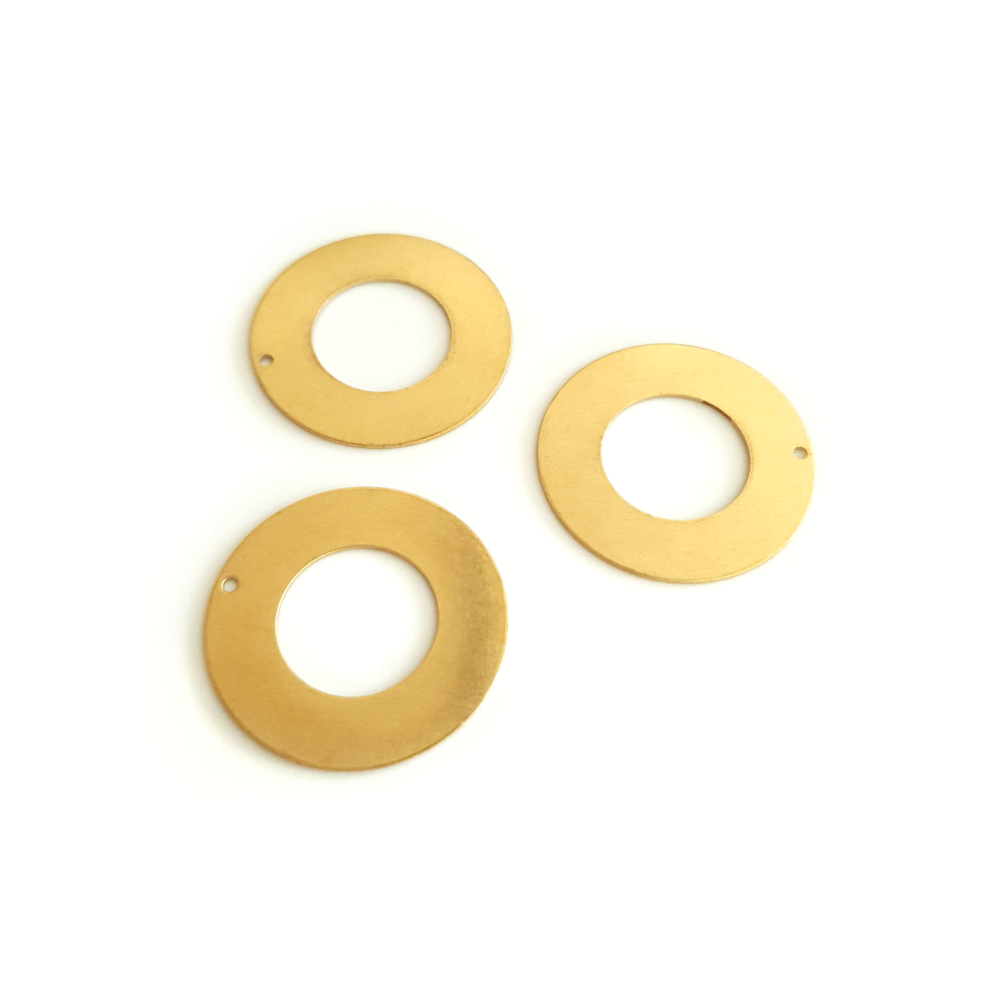 Circle Hollow 10-Piece Raw Brass Charm